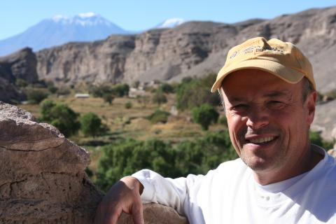 Big smile with Chilean mountains behind