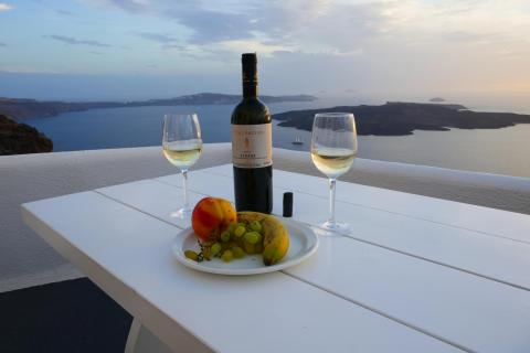 Time for wine on Santorini